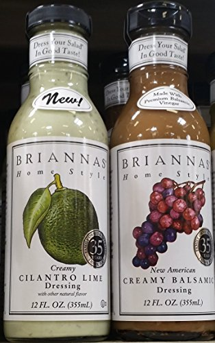 Briannas Dressing Variety Pack - Cilantro Lime & Creamy Balsamic Dressing 12 oz (Pack of 2)