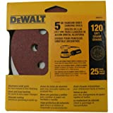 DEWALT DW4311 5-Inch 8 Hole 120 Grit Hook and Loop Random Orbit Sandpaper, 25-Pack