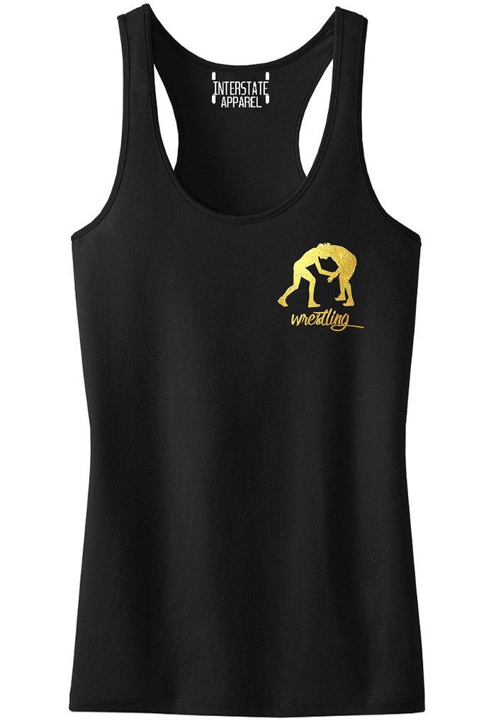 Junior's Gold Foil Wrestling Emblem Black Racerback Tank Top T-Shirt X-Large Black by Interstate Apparel Inc