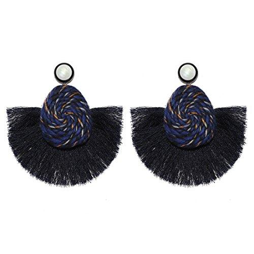 MOOCHI Women Colorful Wire Spiral Semi-Circle Bohemian Beaded Drop Tassel Hoop Dangle Earrings ()