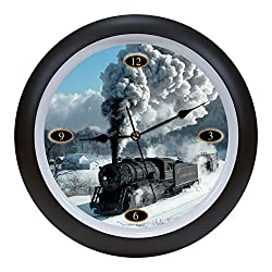 Mark Feldstein Steam Locomotive Engine Legends Sound Sky Blue 14 x 14 Acrylic Wall Clock