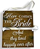 Cleo Bridal REVERSIBLE Here comes the Bride Sign DOUBLE SIDED They Lived Happily Ever After Rustic Wedding Wood Sign Wooden Signs (Dark walnut – White Ribbon) Review