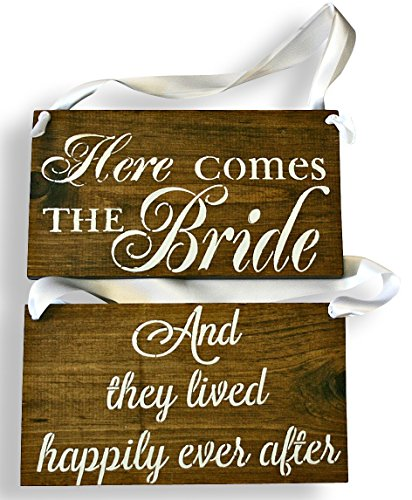 Cleo Bridal REVERSIBLE Here comes the Bride Sign DOUBLE SIDED They Lived Happily Ever After Rustic Wedding Wood Sign Wooden Signs (Dark walnut - White Ribbon)