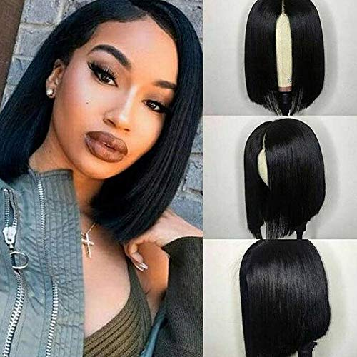 ISEE Hair 13×4 Lace Front Wigs Brazilian Virgin Human Hair Wigs Short Straight Bob Wigs 150% Density Pre Plucked with…