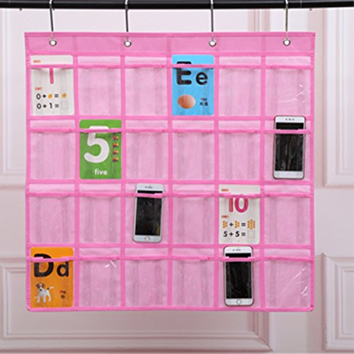 24 Pocket Floor (Lecent@ Classroom 24-Pocket Chart for Cell Phones Business Cards Wall Door Closet Mobile Hanging Storage Bag Organizer with Hooks (clear))