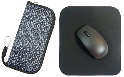 Wireless Notebook Portable (The Buti-Bag Company Travel Mouse Bag & Pad Kit - Large Cushioned Storage Case With Separate Super-thin Travel Mouse Pad (Black Moroccan Lace))