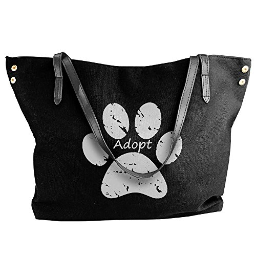 Women's Canvas Handbag Large Paw Shoulder Print Capacity Dog Large Black Bags Tote Adopt rdrIqwU6