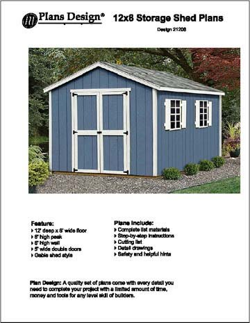 12' x 8'Classic Gable Storage Shed Project Plans -Design #21208