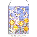 HF-292 Tiffany Style Stained Glass Abstract Sun Flower Butterfly Rectangle Window Hanging Glass Panel Sun Catcher, 24''Hx18''W
