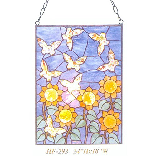 HF-292 Tiffany Style Stained Glass Abstract Sun Flower Butterfly Rectangle Window Hanging Glass Panel Sun Catcher, 24''Hx18''W by Gweat Window Hanging