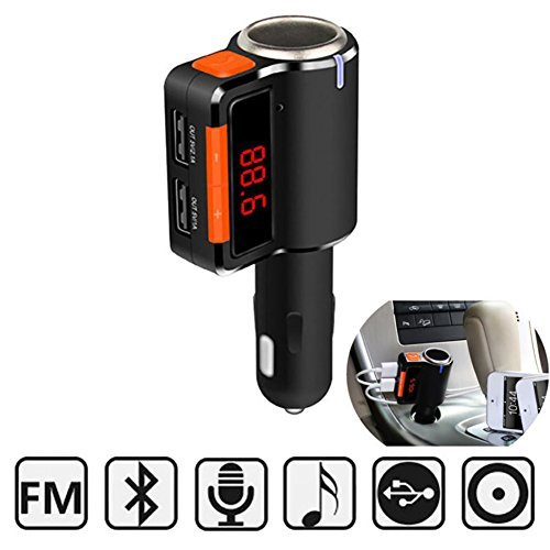 Yunshangauto Bluetooth FM Transmitter, Car Radio Bluetooth Adapter Dual USB Car kits FM Stereo MP3 Player Bluetooth Receiver with Handsfree Call