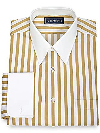 Paul fredrick men 39 s slim fit cotton straight collar french Straight collar dress shirt