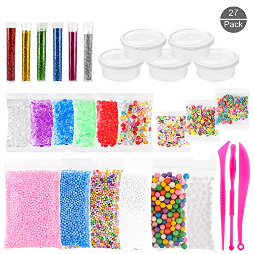 Foam Balls for Slime – 27 Pack Slime Kit Include Foam Beads, Colorful Styrofoam Beads, Fishbowl Beads, Glitter Powder, Fruit Slice and Mixing Tool for Girls and Boys DIY Slime (NOT Contain Slime) ()
