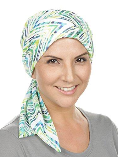 267dab4ca52 Galleon - Chemo Fashion Scarf Easy Tie Turban Hat Headwear For Cancer Rip  Tide Green Blue Zig Zag