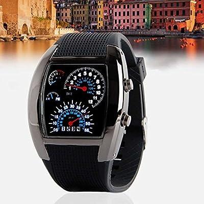 Waterproof Wrist Watch, Enly Popular Blue LED Light Aviation Speedometer Wrist Watch Black