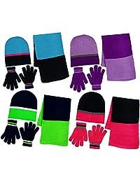 Girls 3 Piece Knit Hat, Scarf & Gloves Set Winter Accessories for Girls