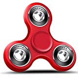 #6: easyDecor EDC Tri Fidget Spinner Hand Toy Stress Reducer Focus Toy Relieves Boredom Guarantee 3 min + Spin Time(Red)