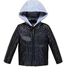 Budermmy Boys Removable Hood Faux Leather Jacket Outdoor Winter Coat