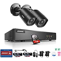 ANNKE Security Camera System with 4 CH 720P DVR and (2) Security Cameras Outdoor Weatherproof , 100ft Night Vision -IR Cut build in, Quick Remote Access via Smartphone-1TB HDD Included