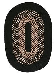 Madison Oval Area Rug, 3 by 5-Feet, Jet Black