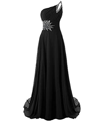 hiprom one shoulder long bridesmaid dress beaded prom dresses at