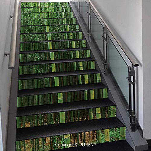 Jung Tropical Print - PUTIEN Exquisite Stair Stickers Wall Stickers,13 PCS Self-Adhesive [ Bamboo,Bamboo Forest Exotic Fresh Jung