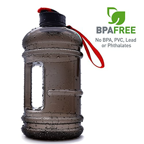 2.2l Hot Water Large Capacity Sports Water Bottle Hydrate Drinking Bottle Tank Jug Container Fitness BPA Free for Bodybuilding Outdoor Sports Gym Workout Hiking & Office (BLACK RED TRITAN)