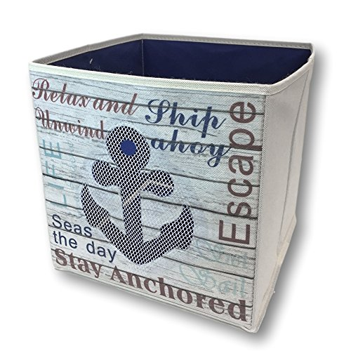 "Banberry Designs Nautical Collapsible Storage Bin Beach Anchor Themed Storage Box - Blue Anchor Design - 11"" High"