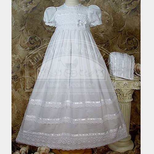Heirloom Christening Gown with Cluny Lace and Ribbon - 24 month Size by Little Things Mean A Lot