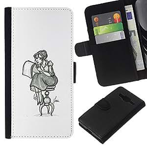 Stuss Case / Funda Carcasa PU de Cuero - Chica Artista Arte Dibujo Lápiz Sentado falda larga - Samsung Galaxy Core Prime