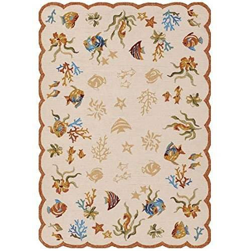 Couristan 2133/1015 Outdoor Escape Coral Dive/Sand 2-Feet by 4-Feet Rug