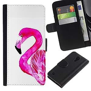 LASTONE PHONE CASE / Lujo Billetera de Cuero Caso del tirón Titular de la tarjeta Flip Carcasa Funda para Samsung Galaxy S4 IV I9500 / Pink White Bird Florida Watercolor