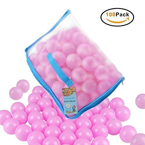 Lightaling 100pcs Pink Ocean Balls & Pit Balls Soft Plastic Phthalate & BPA Free Crush Proof - Reusable and Durable Storage Mesh Bag with Zipper by Lightaling (Image #1)