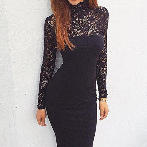 Dress Encaje Fiesta Floral Vestido Negro Elegante Mujeres Fiesta Juleya de Slim para Bodas Cóctel Vestidos Falda t0qTB6w