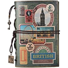 Leather Journal Notebook, MALEDEN Spiral Bound Traveler Notebook for Women Men Thanksgiving Refillable Daily Planner Sketchbook Diary with Zipper Pocket (A6, Stamps)