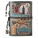 #8: Leather Journal Notebook, MALEDEN Spiral Bound Traveler Notebook for Women Men Thanksgiving Refillable Daily Planner Sketchbook Diary with Zipper Pocket (A6, Stamps)