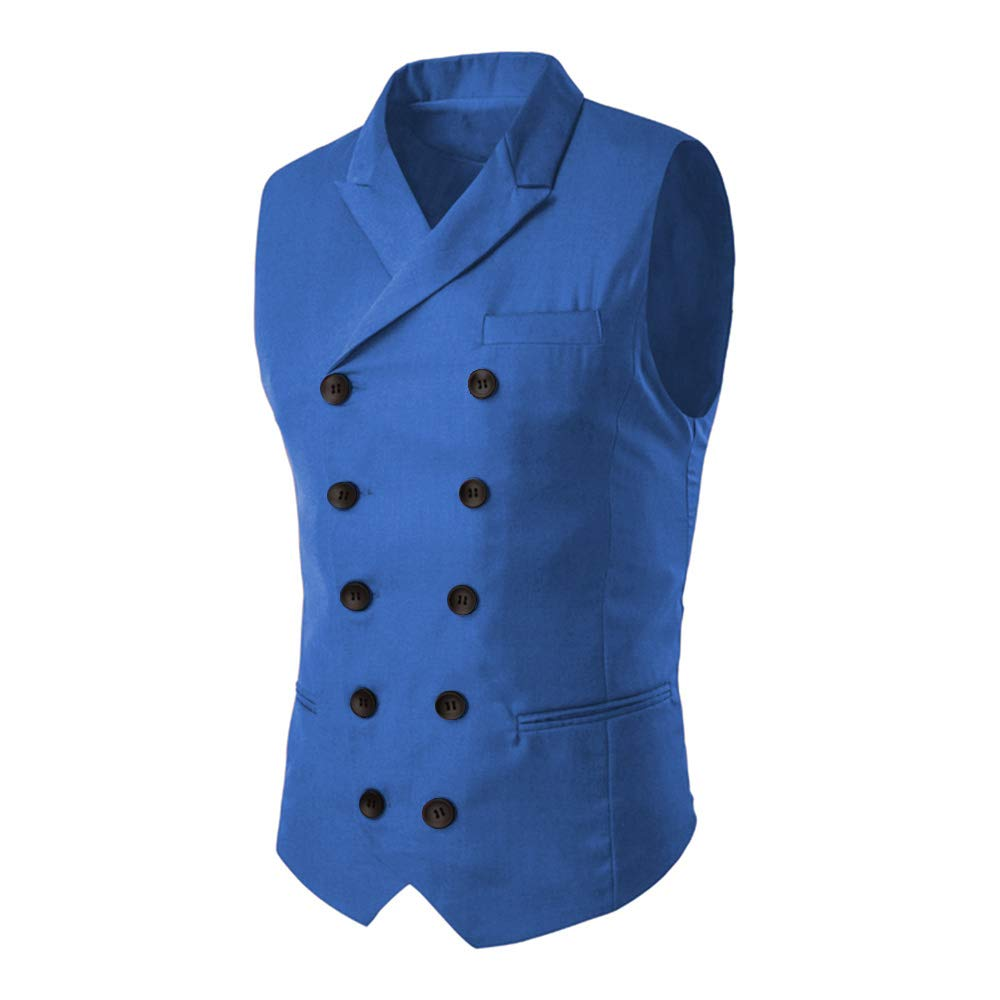 MAGE MALE Men's Slim Fit Suit Vests V-Neck Formal Business Sleeveless Dress Suit Separate Waistcoat (L, Royal Blue) by MAGE MALE