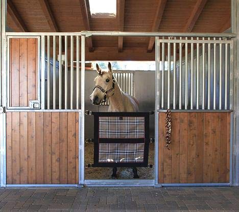 Kensington Door Guard for Horses - Designed to Keep Horse Securely in Stall in Style - Adjustable Straps and Hardware Included