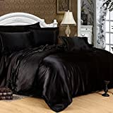 Viceroybedding 7 Piece Satin Bedding Sets Black King Bed Size Duvet Cover, Fitted Sheet, Cushion Cover, Pillow cases Set