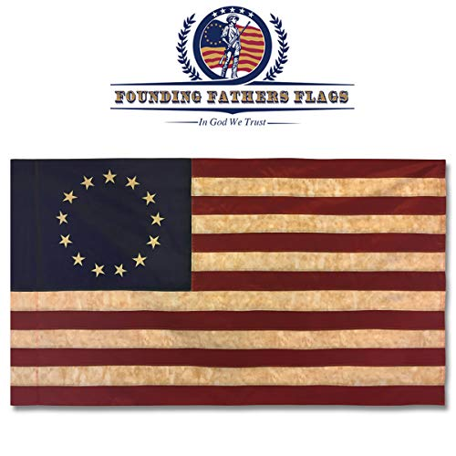 (Founding Fathers Flags Betsy Ross Vintage Embroidered Home Banner - 3x5' Oxford Polyester Banner w/Sleeve)