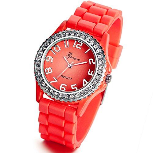 Lancardo Popular Silicone Quartz Unisex Red Rhinestones Jelly Wrist Watch with Gift Bag
