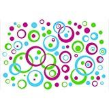 Wall Decor Plus More WDPM221 Wall Vinyl Sticker Decal Circles and  Rings, Hot Pink/Lime Green/Ice Blue, 75-Piece