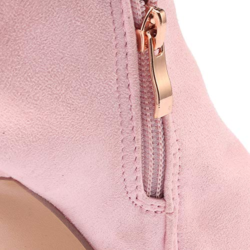 Herbst Outdoor Heel Rosa Spitzschuh Junjie Frauen Unterhaltung Schnalle Aushöhlen Quadratische Martin Stiefel Winter High Freizeit Stiefeletten Strass Super High Party xnfHW5pHw