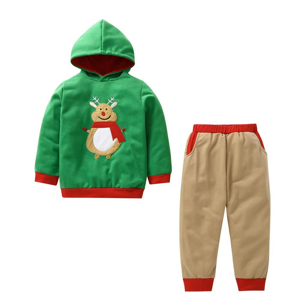 bauycy Hoodie Kinder Jungen und Mä dchen Sweatshirts Langarm-Shirt + Hosen Zweiteilige Anzug Elch Bestickt Weihnachten Anzug lä ssige Sport Pullover