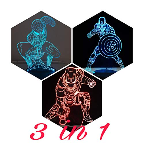 Captain Control (3 in 1-3D Night Lights for Kids 7 Colors-3D LED Illusion Lamp with Remote Control-Bedroom Table Lamp-Spiderman-Captain America-Ironman-(Avengers 3 in1))