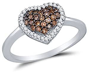 Size 6.5 - 10K White Gold Chocolate Brown & White Round Diamond Halo Circle Engagement Ring - Channel Set Heart Center Setting Shape (1/3 cttw.)