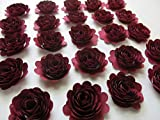 24 Dark Red Carnations, 1.5'' Scalloped Burgundy Rose Paper Flowers, Garnet Flowers