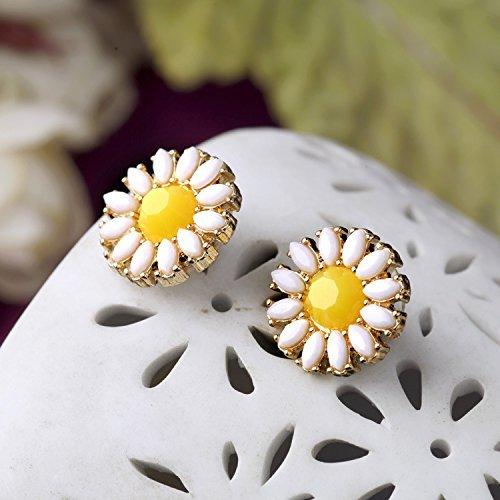 Amazon carfeny white lotus earrings daisy yellow sunflower stud amazon carfeny white lotus earrings daisy yellow sunflower stud earrings for teen girls kids pierced ears jewelry mightylinksfo
