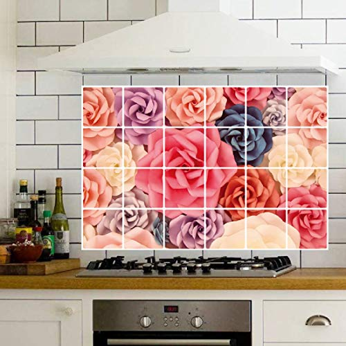 JAAMSO ROYALS Rose Oil Proof Kitchen Room Wall Sticker Oil Proof Aluminum foil Sticker & Home Wall...