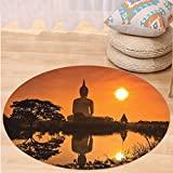 VROSELV Custom carpetYoga Decor Big Giant Statue by the River at Sunset Thai Asian Culture Scene Yin Yang Print Bedroom Living Room Dorm Decor Burnt Orange Round 72 inches
